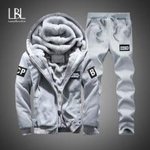 Winter Innere Fleece Hoodies Männer 2020 Casual Kapuze Warme Sweatshirts Männlichen Verdicken Trainingsanzug 2PC Jacke + Hose Männer Moleton masculino