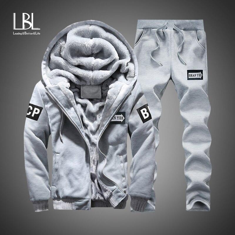 Winter Inner Fleece Hoodies Men 2020 Casual Hooded Warm Sweatshirts Male Thicken Tracksuit 2PC Jacket+Pant Men Moleton Masculino