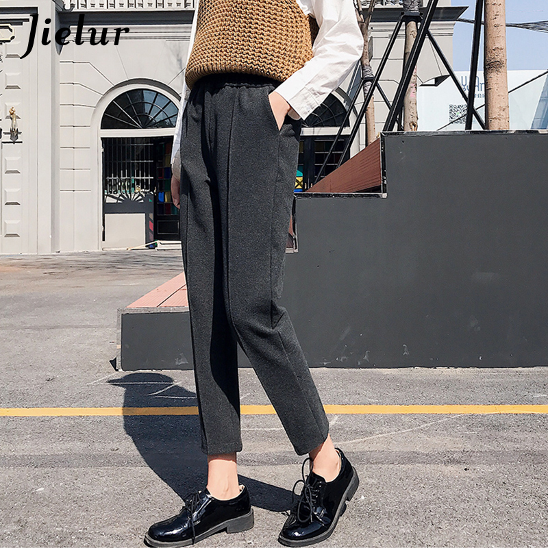 Jielur Woolen Pants Female Winter Korean Loose Casual Harem Pants Harajuku M-XXL Black Gray Pantalon Mujer Capris Elastic Waist