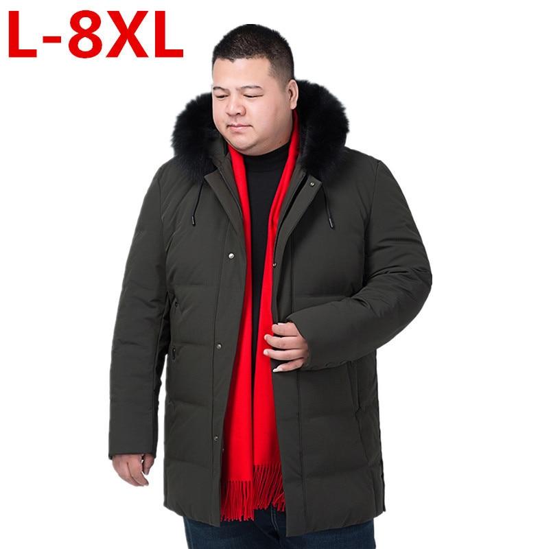 large size 8XL 7XL Brand Navy Parka Men 2017 Winter Jacket Big Fur Hooded Men's Long Down Jacket Coat male Manteau Homme Hiver