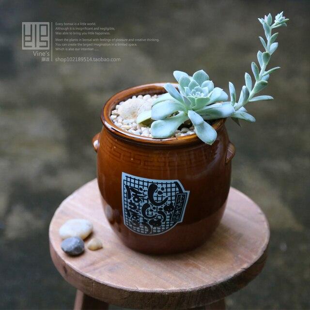 Anese Style Ceramic Amphora Flower Pot Meat Plant Bonsai Desktop Decoration Clay Pots