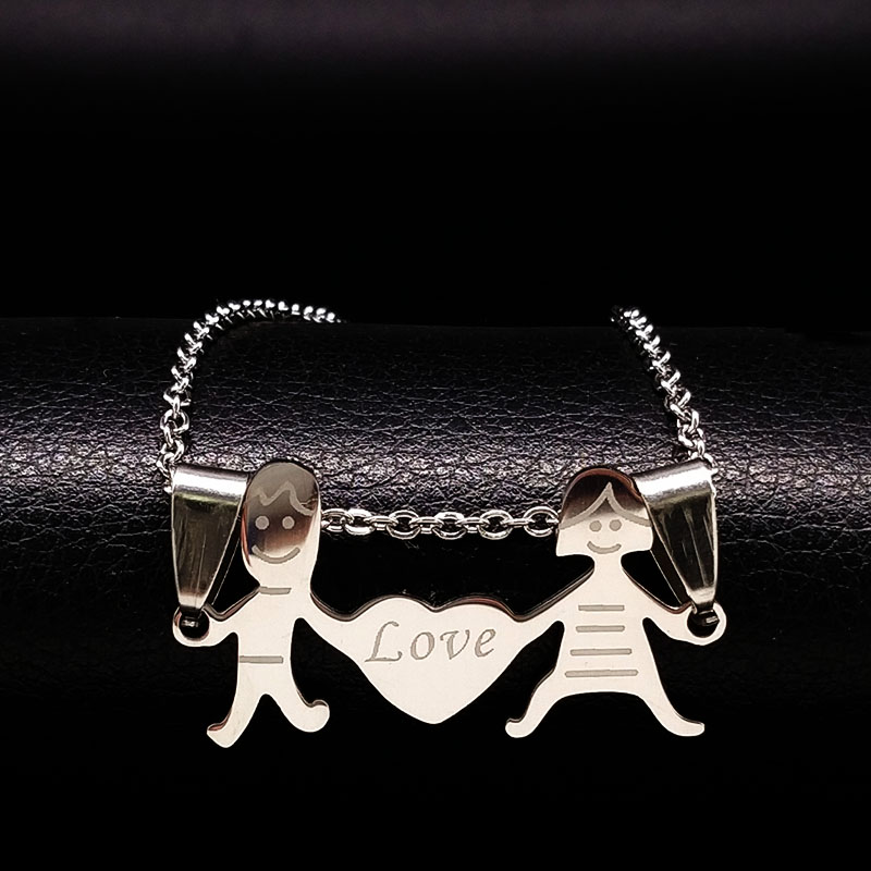 Boy and Girl Love Stainless Steel Necklaces for Women Jewelry Heart Silver Color Chain Necklaces Women Jewerly collier N61282B