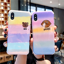 Luxury Cute Colorful Brainbow Ernie Soft Anti-fall Airbag Glossy Shell Phone Cases For Apple iphone 6 6s 7 8 Plus Xs Xsmax Xr X