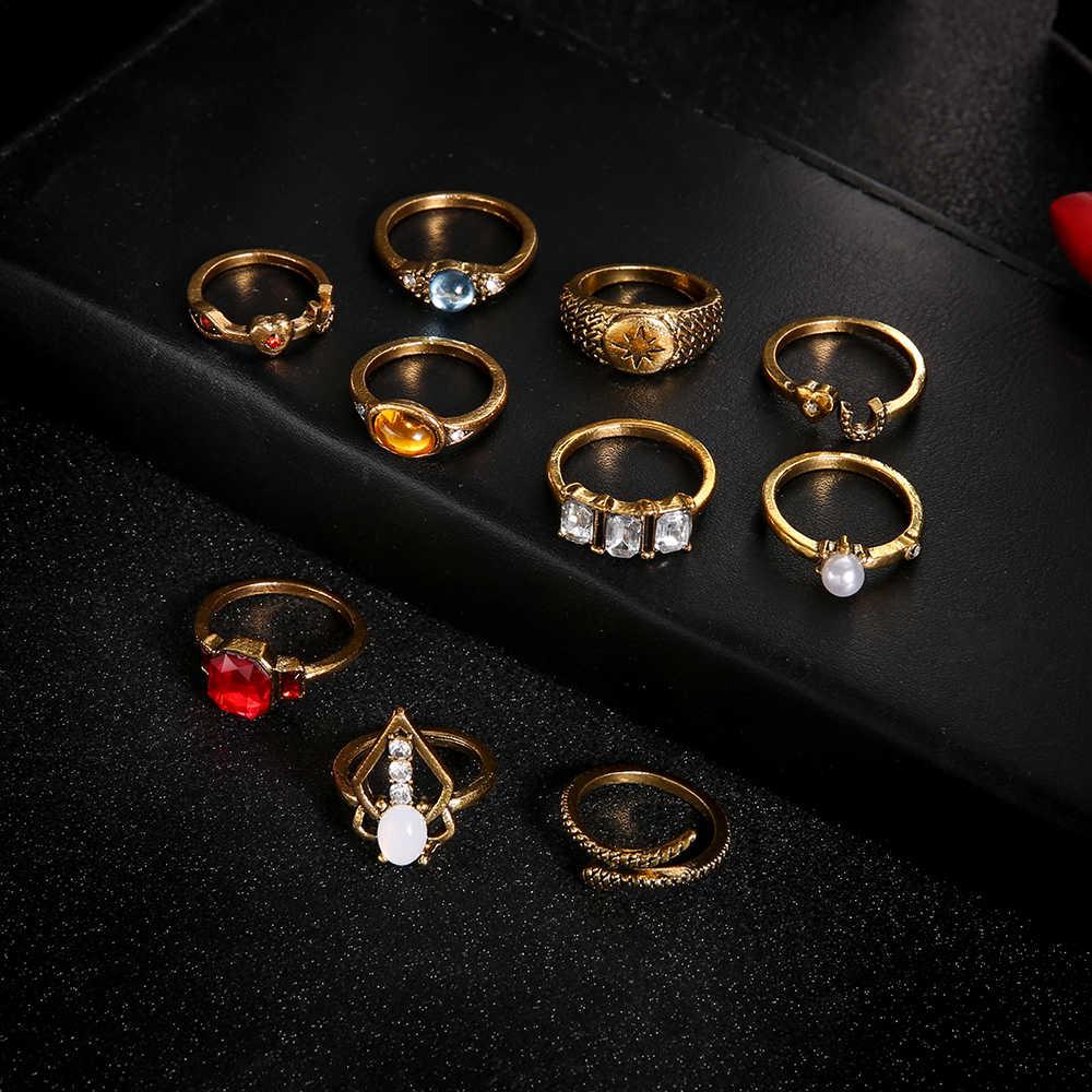 Moda clássico cristal ouro cor anéis definir pequena estrela da lua do vintage geométrico oco para fora anel de dedo conjunto de jóias femininas 10 pçs