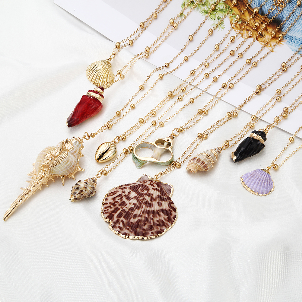 Women Girls Shell Pendant Multi Layer Clavicle Chain Necklace For Wedding Gift