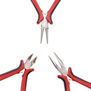PANDAHALL DIY Jewelry Plier Tool Sets Ferronickel Side-Cutting Chain-Nose(Flat Nose Plier) & Round Nose Pliers Making Equipment 5 inch mini long needle nose plier jewelry making hand tool diy beading jewelry tool