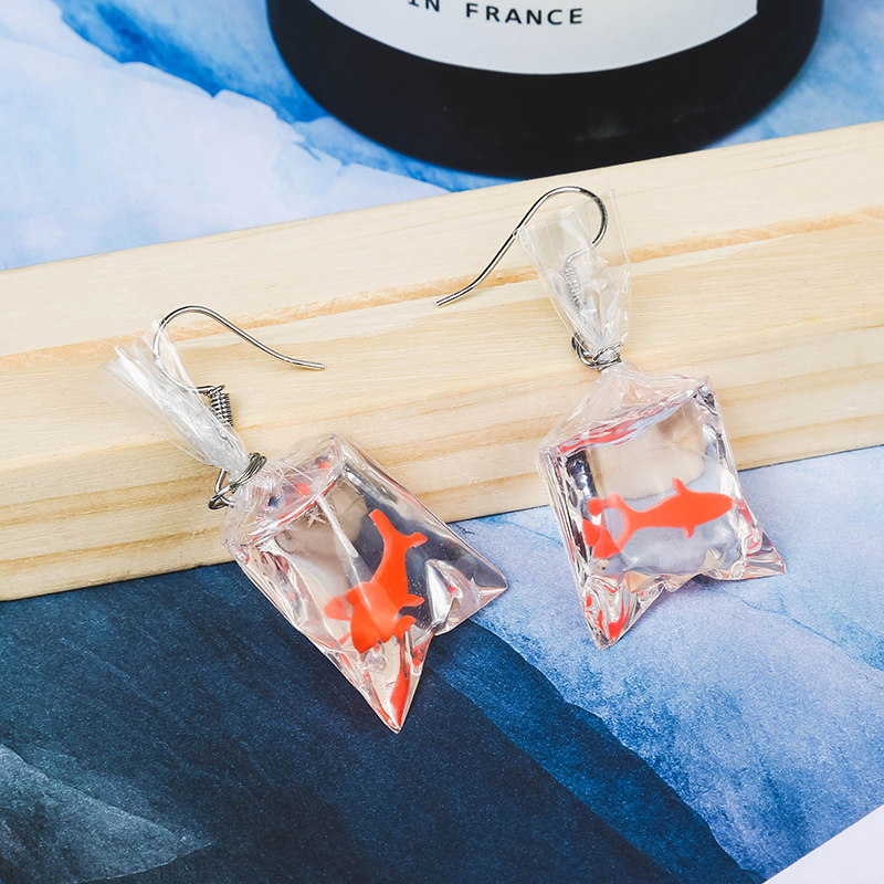 2018 New Design Lovely Goldfish Earrings Fish Earrings Drop Earrings Big Earrings for Woman Gift Red Summer Style