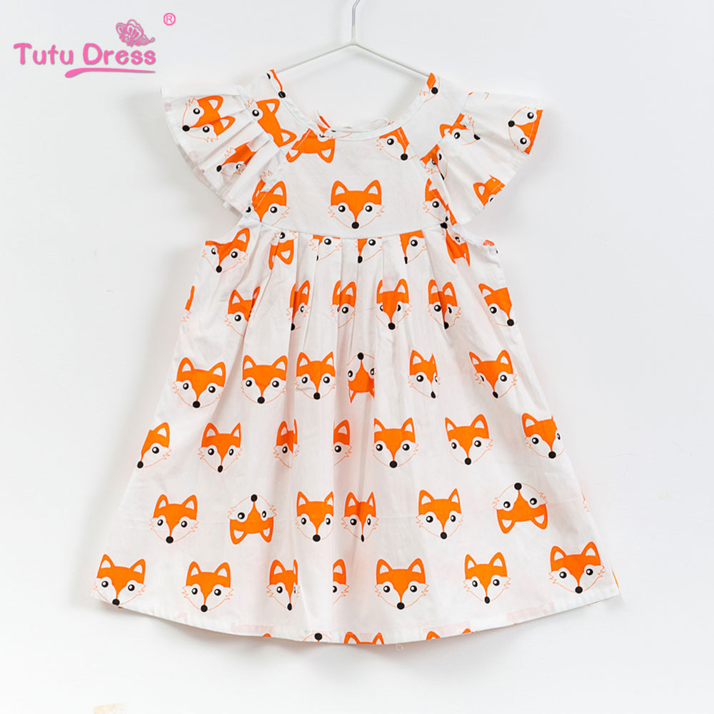 Girls Summer Floral Baby Girl Dress Brand Cotton Short sleeve Dress 2018 New Arrival Baby Girl Clothes Fox Dress Outfits