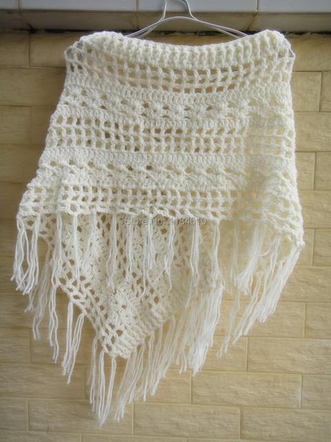 Franja bohemia ganchillo del mantón del Poncho mujeres Pashmina de ...
