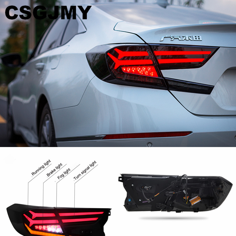 2PCS Car Styling taillight tail lights case for Honda Accord 2018 LED taillights case for Accord Tail Lamp rear trunk lamp cover