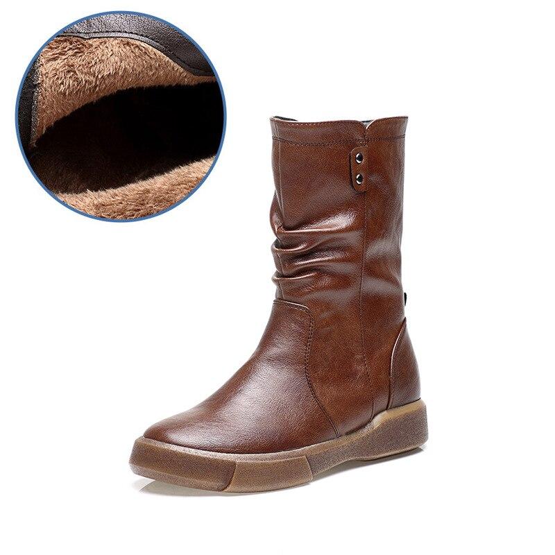 Chaussures Nouvelle Pour D'hiver 3 Bottes 2 Peluche Cuir mollet Arrivée Mi Rond Femme 1 Martin Bout Chaud Courte 4 En Femmes rFZqprw