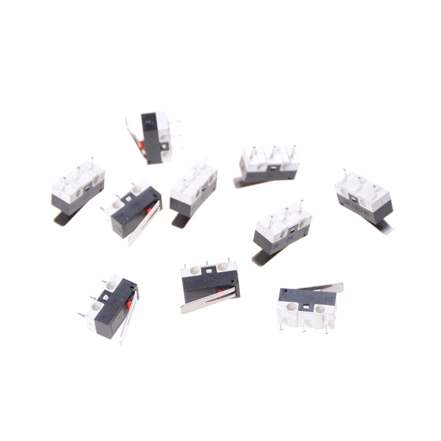 KW10 AC 125V 1A Micro Switch Momentary 13mm Level length mini Tripod Rectangular Tact Micro Switch  Long Hinge Lever 10pcs