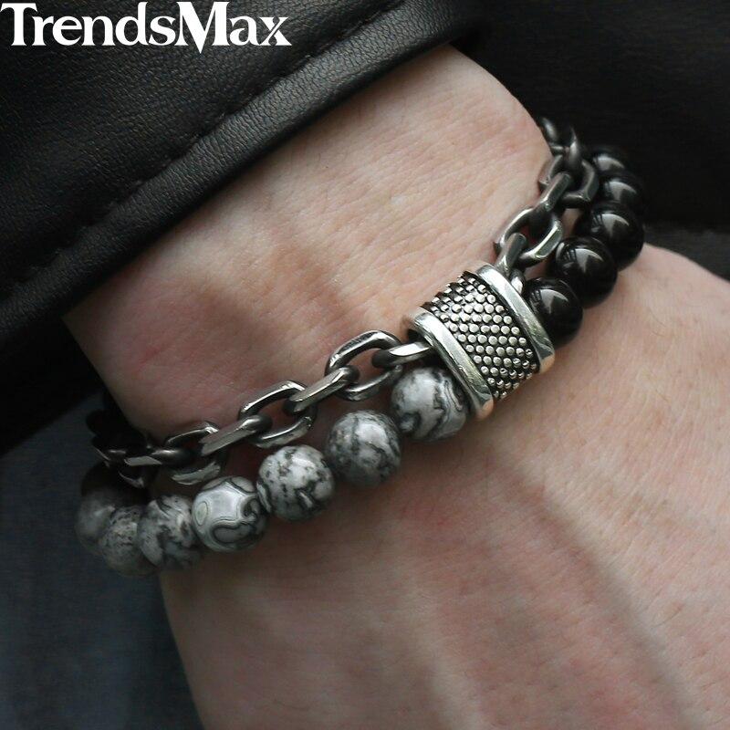 Trendsmax carte naturelle pierre hommes Bracelet perlé pour femmes Bracelets en acier inoxydable bijoux masculins oeil de tigre 8 9 10 pouces DB33