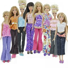 5 Sets Handmade Blouse with Trousers Pants for Barbie Doll Barbie Clothes Xmas Gift