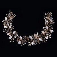 Accessoires de mariage à la main de cheveux de mariée bijoux or tête bande cristal coiffe feuille casque feuilles bandeau perle