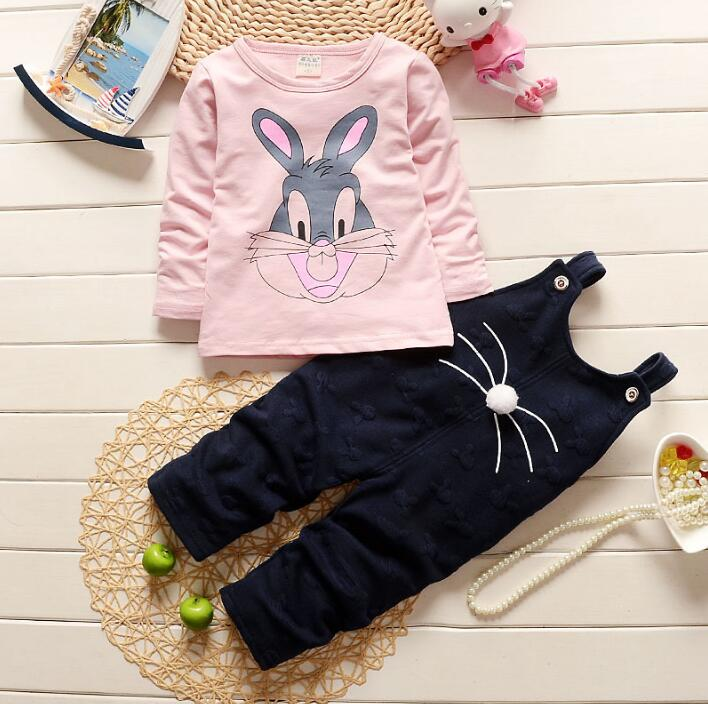 2017 New Baby Toddler Boy Autumn Spring Fashion pink Children Kids girl Clothing Set white Cotton rabbit T-shirt + pants