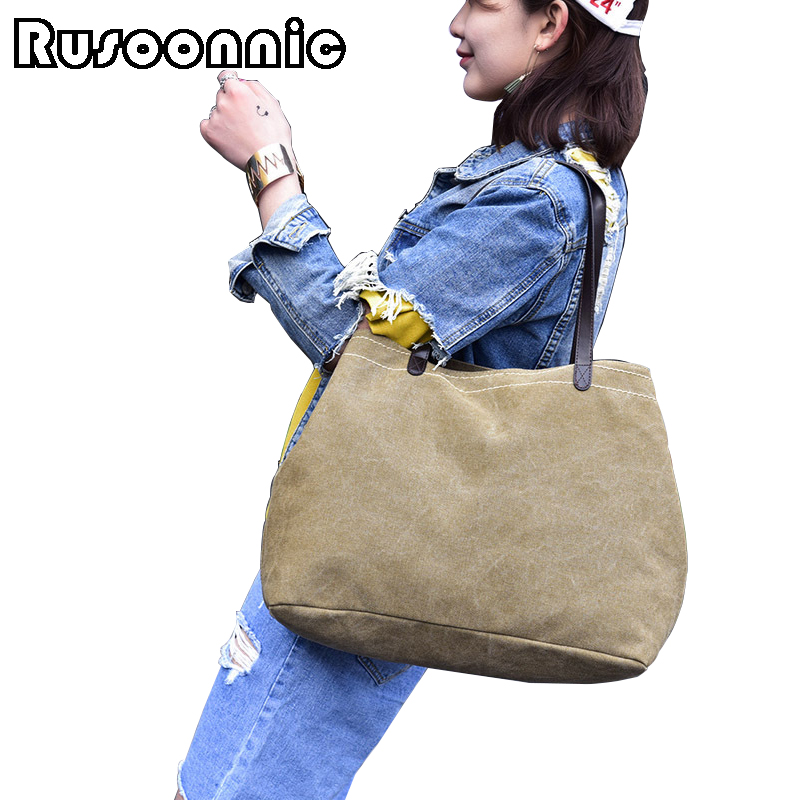 Rusoonnic Bags For Women 2017 Shoulder Bag Casual Tote Ladies Canvas Large Messenger Bags Feminina Bolsas Female sac a main aosbos fashion portable insulated canvas lunch bag thermal food picnic lunch bags for women kids men cooler lunch box bag tote