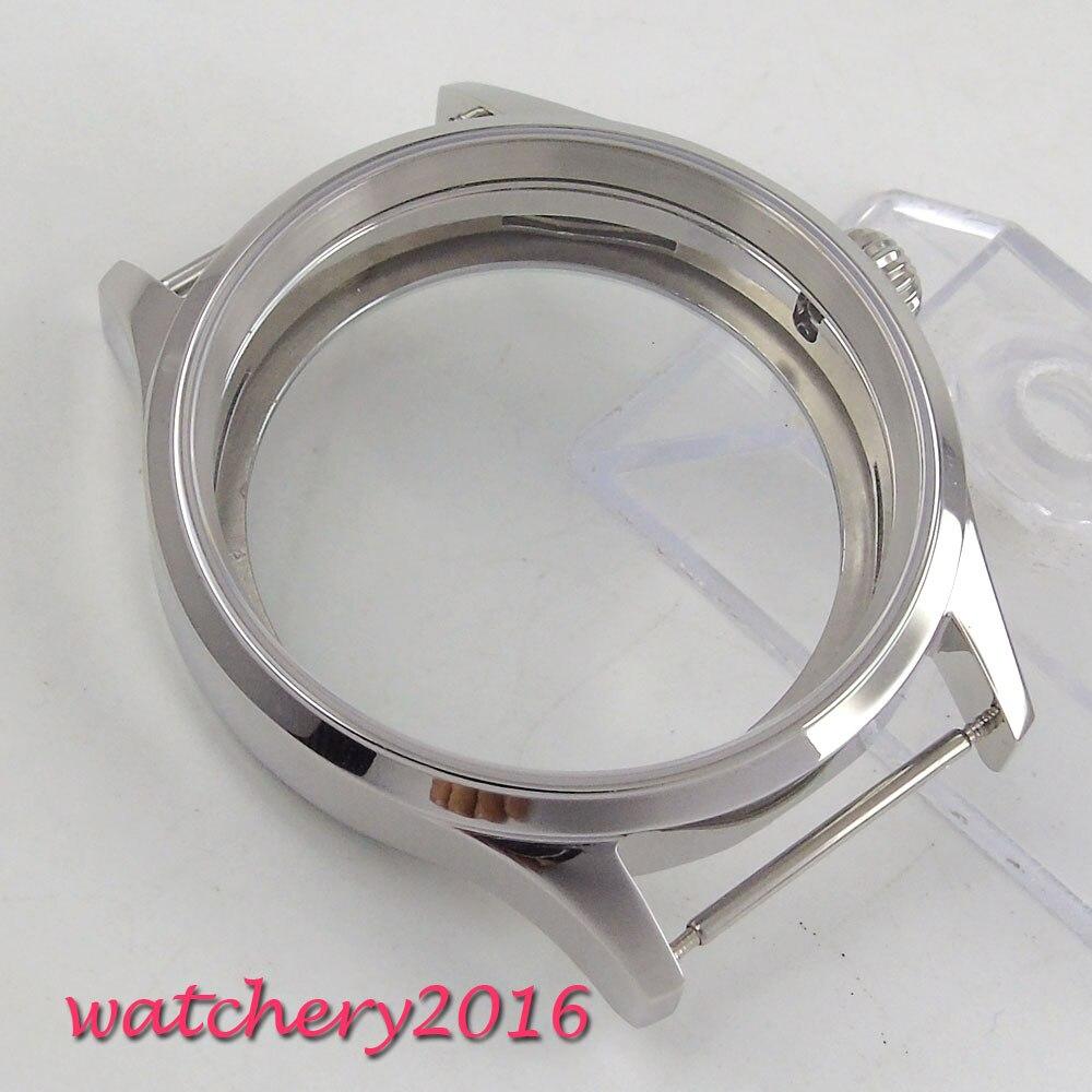 Boîtier de montre couronne en forme de citrouille en acier inoxydable 316L parnis saphir de 43mm, mouvement eta 6497 6498