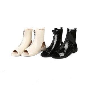 Image 4 - MORAZORA Botines de charol para mujer, botas de gladiador con cremallera y Punta abierta, zapatos de estilo punk, novedad de 2020
