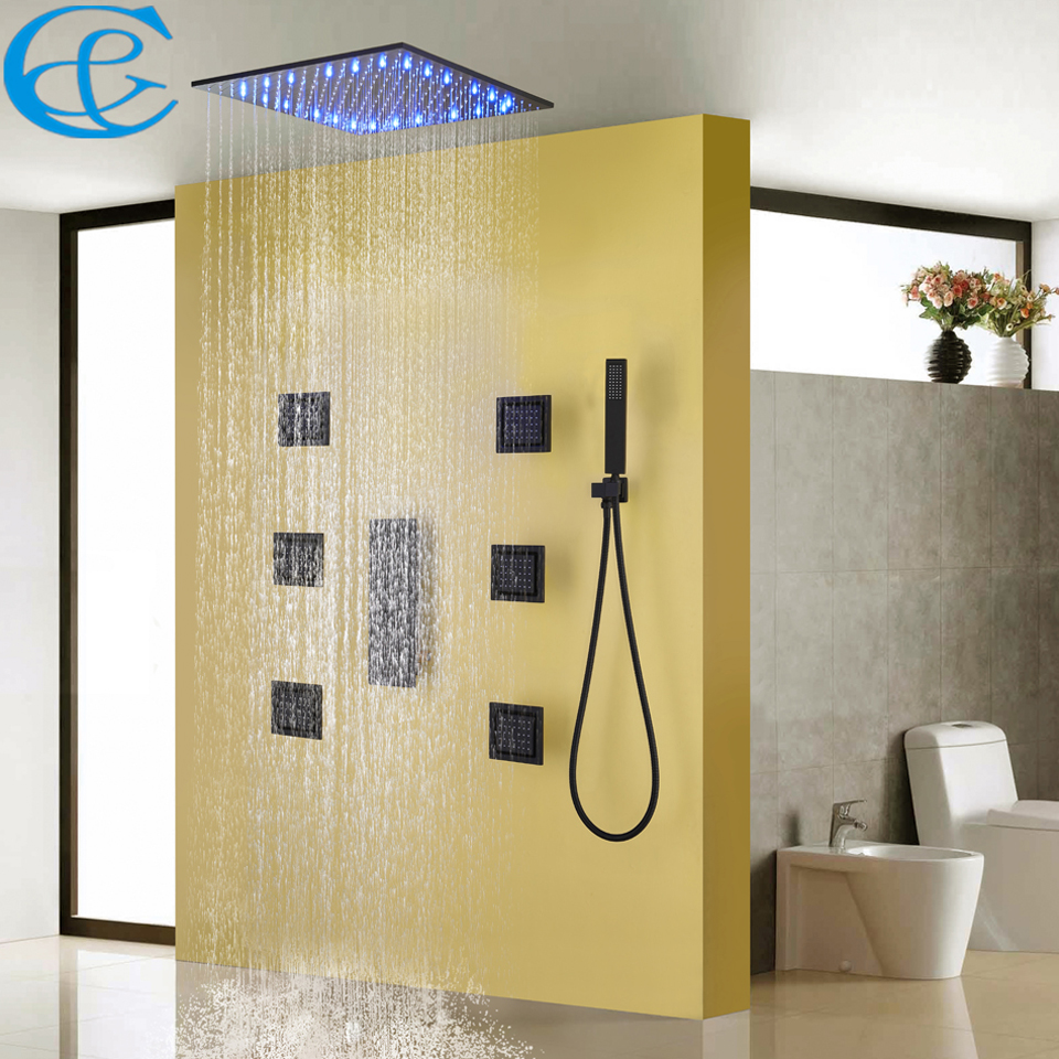 Bathroom Shower Faucet Set Blacken Shower Panel Rain Ceiling Water Temperature LED Shower Head Bath Shower