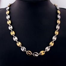 11mm 7-40inch Hot Sale Punk Stainless Steel Silver Gold Coffee Beans Chain Men's Women's Necklace Or Bracelet Jewelry Xmas Gift
