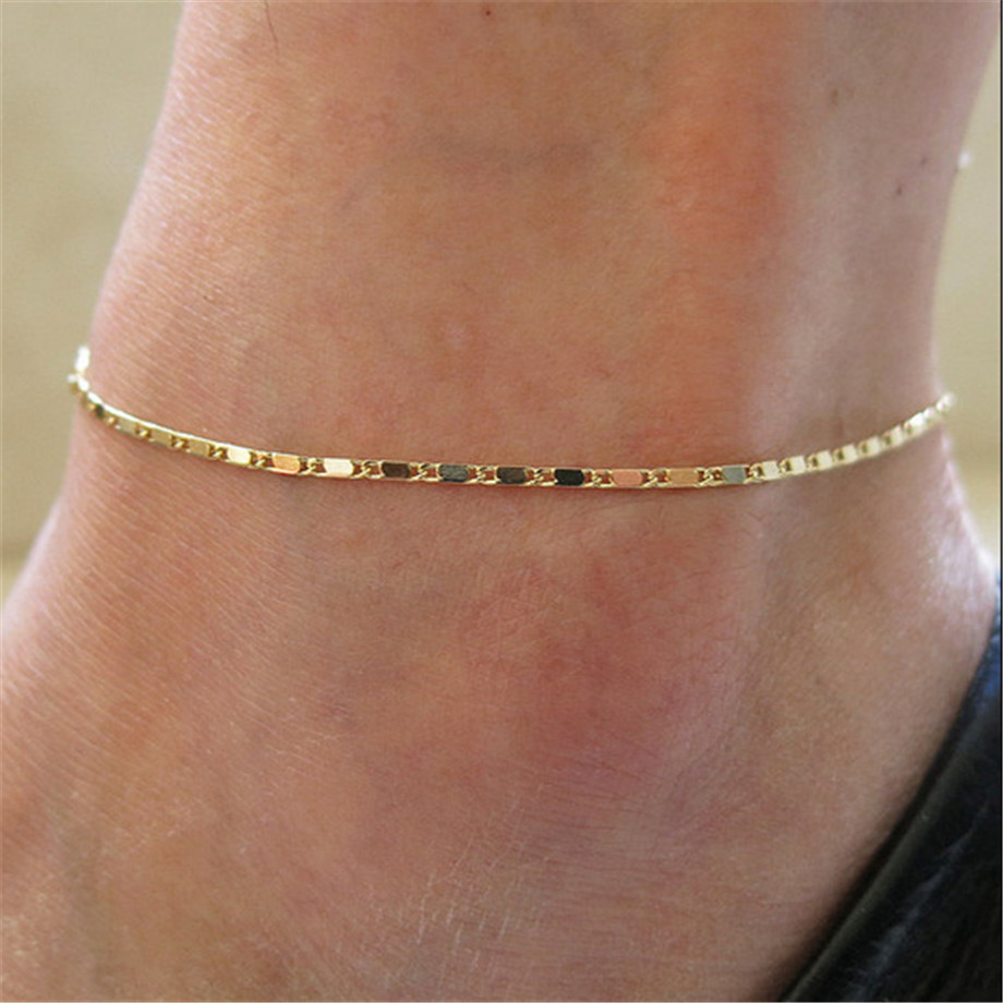 Simple Woman Anklets Casual/Sporty Gold Color Silver Chain Women Ankle Bracelet Jewelry(China)