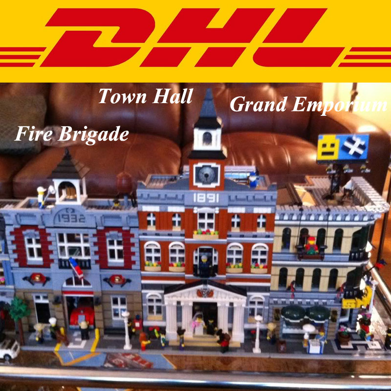 City Street LEPIN 15003 Town Hall 15004 Fire Brigade Station 15005 Grand Emporium Building Model Blocks Set Set Toys lepin 15003 2859pcs city creator town hall sets model building kits set blocks toys for children compatible with 10024