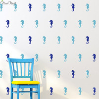 36pcs/Set - Small Seahorse Wall Decals Adorable Nursery Bedroom Vinyl Sticker Murals Nursery Decor for Gifts - Size 1.4 x 3 inch