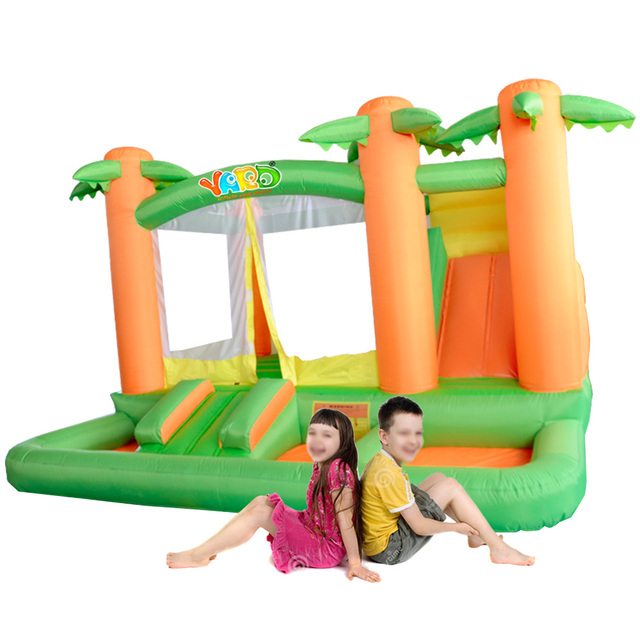 YARD jungle bounce house inflatable combo slide bouncer trampoline moonwalk ball pit with blower