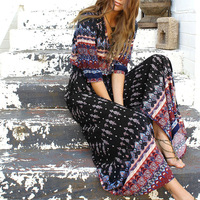 Women-Bohemia-V-neck-Three-Quarter-Sleeve-Floral-Print-Ethnic-Autumn-Beach-Boho-Long-Dress-Retro-Hippie-Vestidos-Boho-Dress-5