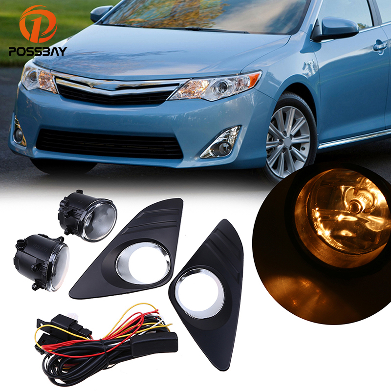 POSSBAY For 2012-2014 Toyota Camry XV50 LE/XLE Front Bumper Halogen Fog Lights + Wiring Kit Car Styling Yellow Light Bulbs car styling fog lights for toyota camry 2012 2014 pair of 12v 55w front fog lights bumper lamps daytime running lights