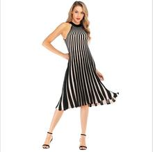 YYFS 2019 Hot Sale summer new women dress Slim color matching fashion striped knit hanging neck mid female vestido