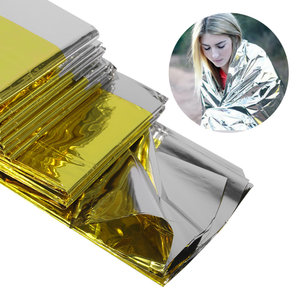 цена на 160*210cm Emergency Blanket Lifesaving Thermal Insulation Sunscreen Blanket Aid Safety Survival Tools Gold Silver Double Color