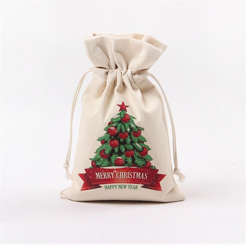 16*23.5cm Handmade Drawstring Bag Travel Drawstring Pouch Cotton Linen Christmas Gift Bag