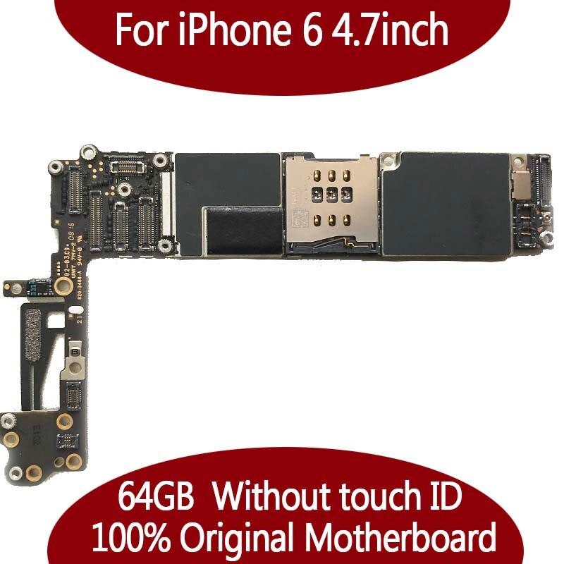 64 GB lógica del sistema del IOS para iphone 6 4,7 pulgadas 100% Original desbloqueado placa madre sin la identificación del tacto Mainboard + chips