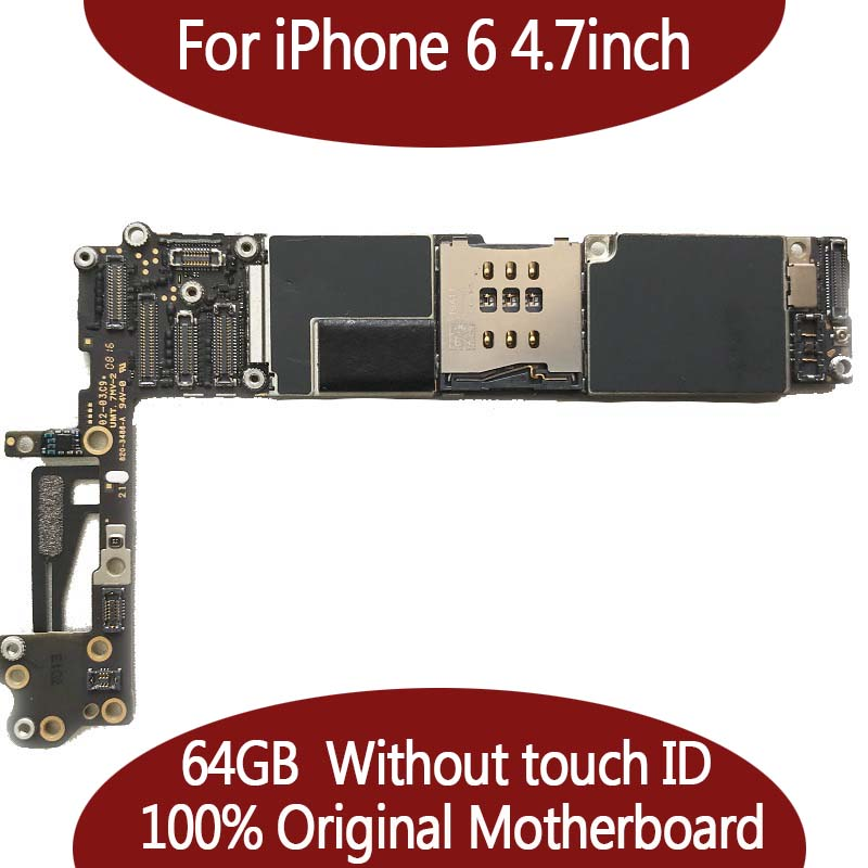 64GB IOS system logic board for iphone 6 4.7inch 100% Original unlocked motherboard without touch ID Mainboard+chips