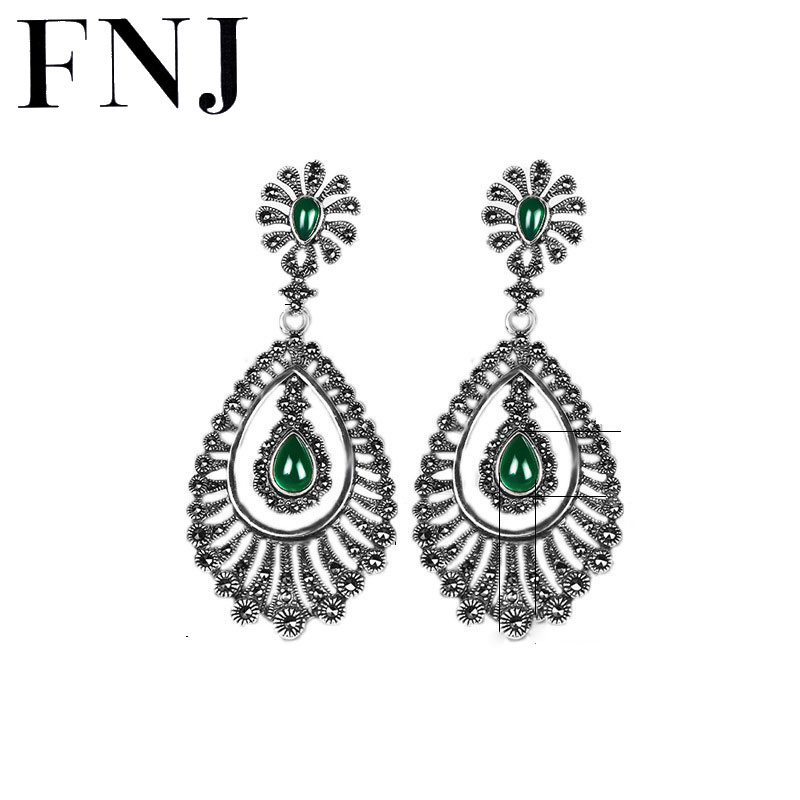 Green Black Stone Earrings 925 Silver Peacock Drop Earring Statement Fashion 100 S925 Sterling Silver boucle