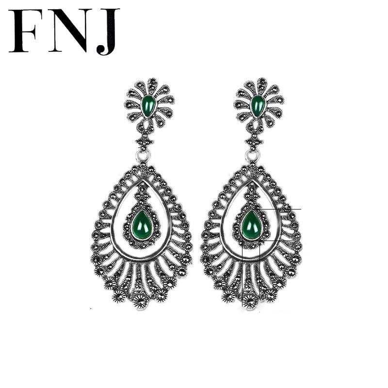 Green Black Stone Earrings 925 Silver Peacock Drop Earring Statement Fashion 100 S925 Sterling Silver boucle