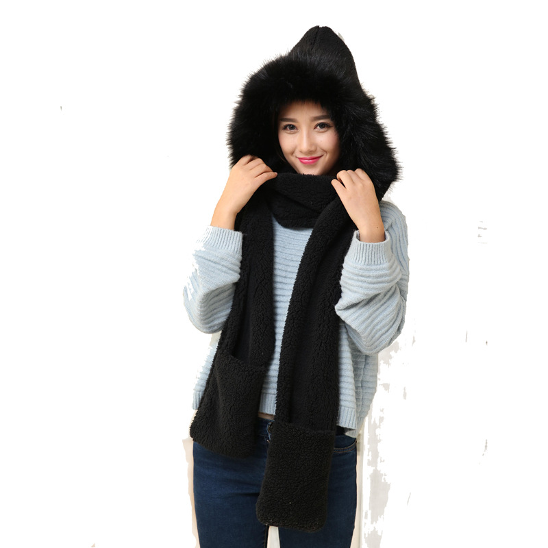 New Fashion Hair Ball Scarf Female Winter Wild Students English Lattice Tassel Warm Scarf Soft Sister Sweet Cute Hat Gloves