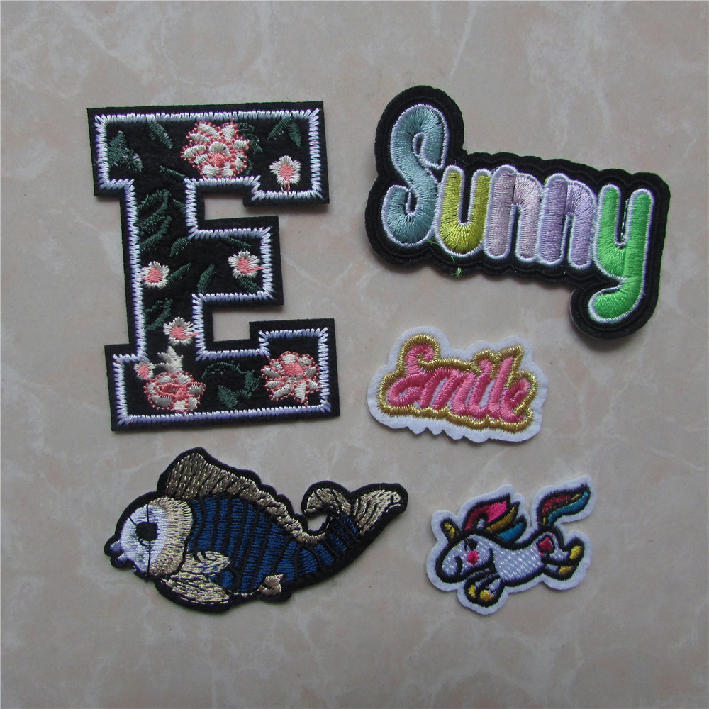 2017 New fashion style fish sunny smile word Patches Iron On Or Sew Fabric Sticker For Clothes Badge Embroidered Appliques DIY
