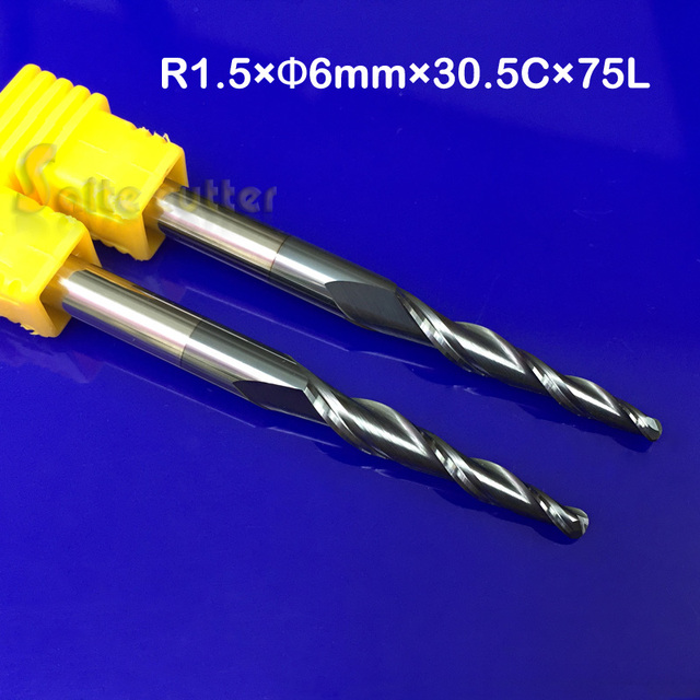 2pc R1.5*D6*30.5*75L*2F HRC55 Tungsten solid carbide Taper Ball Nose End Mill cone milling cutter cnc router bit wood knife tool