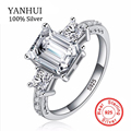 YANHUI Brand Solid 925 Sterling Silver Wedding Rings For Women 5 Carat Crystal Zircon CZ Engagement Rings Jewelry MMSR032