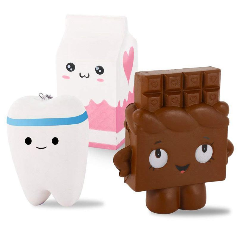 3 Pack Kawaii Jumbo Slow Rising Squishies, Scented Squishy Chocolate Bar, Tooth, Milk Carton Toys For Kids Or Stress Relief