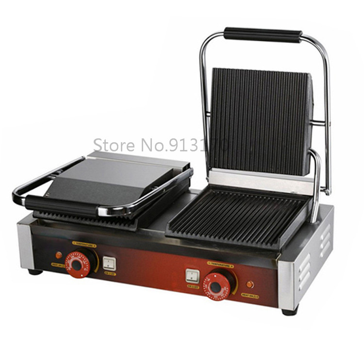 Panini Grill, Sandwich Contact Grill Electric Griddle Double Heads Groove Plates цена