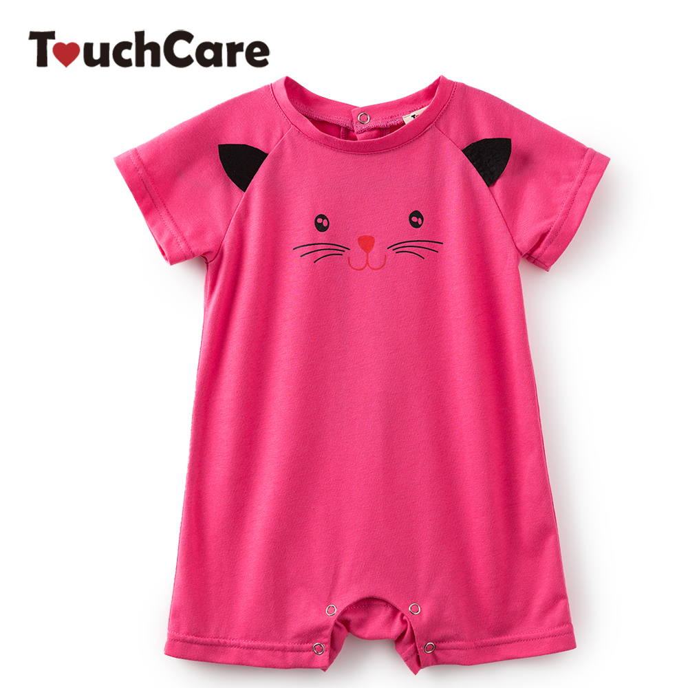 Clearance Newborn Baby Girl Clothes Rose Red Color Baby Romper Cat Print Short Sleeve Baby Jumpsuit Summer Infant Girl Rompers