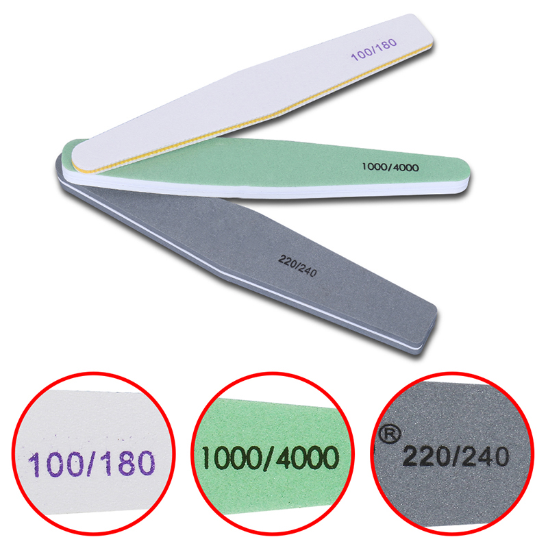 Nail Art Nail Files Sanding Shimmer 3 Sizes Pro Nail Art Double Side File Sanding Bar Manicure Pedicure Nail Tools 1 roll 10m clear nail double side nail adhesive tape strips tips transparent manicure nail art tool