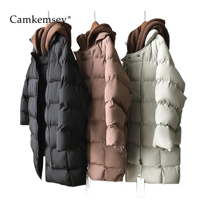 Best Offers CamKemsey Cotton Padded Warm Parkas Women Thickening Long Down Jacket 2018 Casual Pockets Hooded Winter Coat Women Outwear