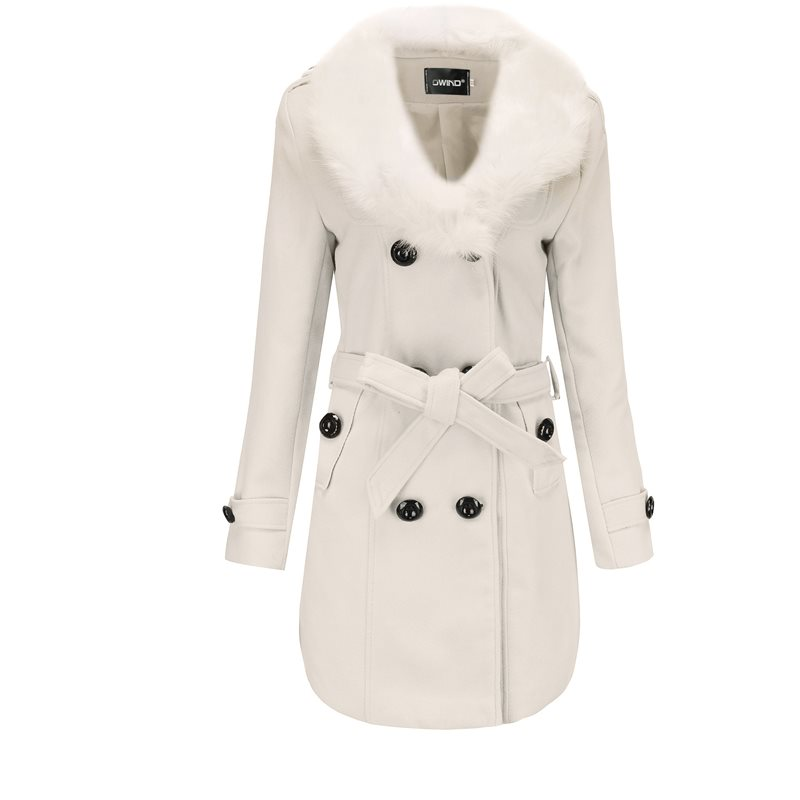 Winter Casual 2019 White Vintage Plus Size Women Overcoats Yellow Slim Button Plain Lace Up Office Ladies Outwear Female Coats in Trench from Women 39 s Clothing