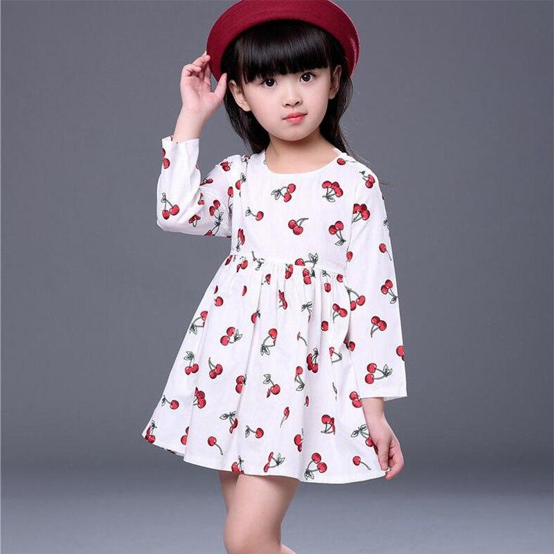 Ywstt 2017 Nouvelle Arrivée printemps et automne fille robe Cerise imprimer bébé fille robe enfants vêtements enfants robe 1-huit années