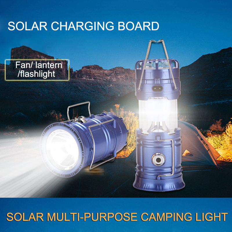 Multi-function Solar Flashlight with Mini Fan Rechargeable LED Camping Light Table Lamp Flashlight JA55